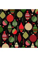 PD's Andover Collection Modern Metallic Christmas, Baubles in Black, Dinner Napkin