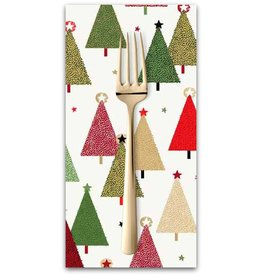 PD's Andover Collection Modern Metallic Christmas, Trees in White, Dinner Napkin
