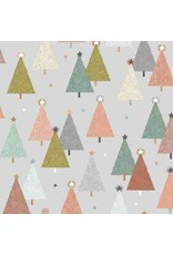 Andover Fabrics Modern Metallic Christmas, Trees in Silver, Fabric Half-Yards