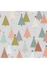 Andover Fabrics Modern Metallic Christmas, Trees in Silver, Fabric Half-Yards
