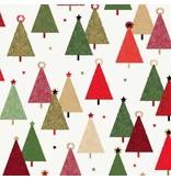 Andover Fabrics Modern Metallic Christmas, Trees in White, Fabric Half-Yards
