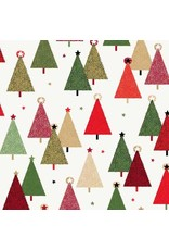 Andover Fabrics Modern Metallic Christmas, Trees in White, Fabric Half-Yards