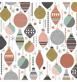 Andover Fabrics Modern Metallic Christmas, Baubles in White, Fabric Half-Yards