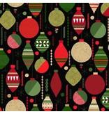 Andover Fabrics Modern Metallic Christmas, Baubles in Black, Fabric Half-Yards