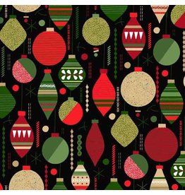 Andover Fabrics Modern Metallic Christmas, Baubles in Black, Fabric Half-Yards