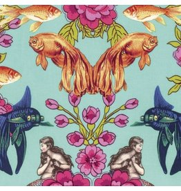 TokyoMilk Neptune and the Mermaid, Lost Atlantis in Aqua, Fabric Half-Yards