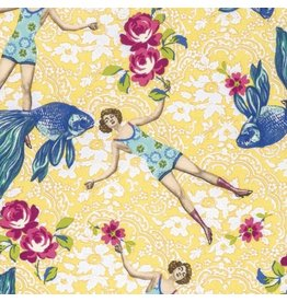 TokyoMilk Neptune and the Mermaid, What Would Poseidon Say in Yellow, Fabric Half-Yards