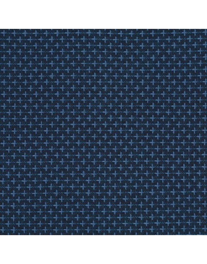 Robert Kaufman Indikon Yarn Dyed Woven, Crossed in Denim comfy, Fabric Half-Yards
