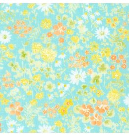 Robert Kaufman Sevenberry Comfy Double Gauze, Floral Wash in Aqua, Fabric Half-Yards