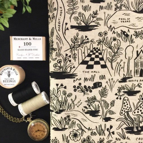 Rifle Paper Co. Linen/Cotton Canvas, Wonderland, Magic Forest in Natural, Fabric Half-Yards