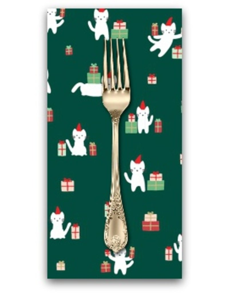 PD's Dear Stella Collection Christmas Darlings, Meowy Christmas in Fir, Dinner Napkin