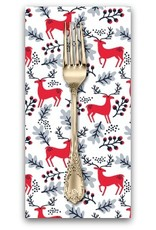 PD's Dear Stella Collection Christmas Darlings, Reindeer in White, Dinner Napkin