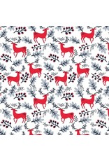 Dear Stella Christmas Darlings, Reindeer in White, Fabric Half-Yards