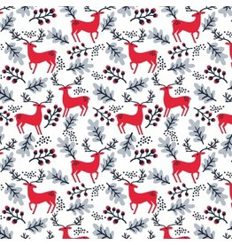 Dear Stella Christmas Darlings, Reindeer in White, Fabric Half-Yards