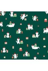 Dear Stella Christmas Darlings, Meowy Christmas in Fir, Fabric Half-Yards