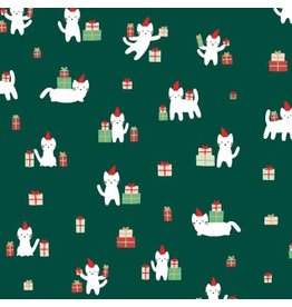 Dear Stella Christmas Darlings, Meowy Christmas in Fir, Fabric Half-Yards