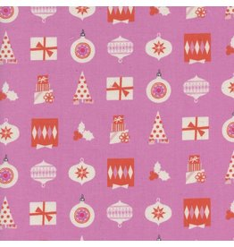 Cotton + Steel Noel, Wrapped Up in Pink with Neon Pigment Christmas, Fabric Half-Yards