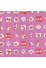 PD's Cotton + Steel Collection Noel, Wrapped Up in Pink with Neon Pigment Christmas, Dinner Napkin