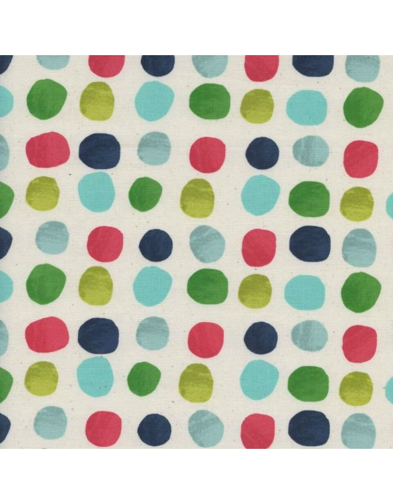 Cotton + Steel Noel, Painted Dots in Blue Christmas, Fabric Half-Yards