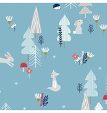 Andover Fabrics Forest Talk, Forest Talk in Blue, Fabric Half-Yards
