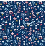 Andover Fabrics Forest Talk, Mountain Flora in Blue, Fabric Half-Yards