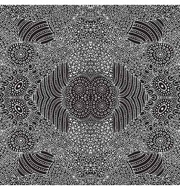 M&S Textiles Australia Australian Aboriginal, Waterhole in Black, Fabric Half-Yards