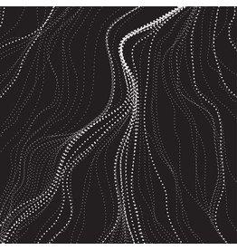 M&S Textiles Australia Australian Aboriginal, Sand Hills in Charcoal, Fabric Half-Yards