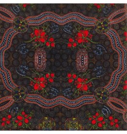 M&S Textiles Australia Australian Aboriginal, Bush Food in Red, Fabric Half-Yards