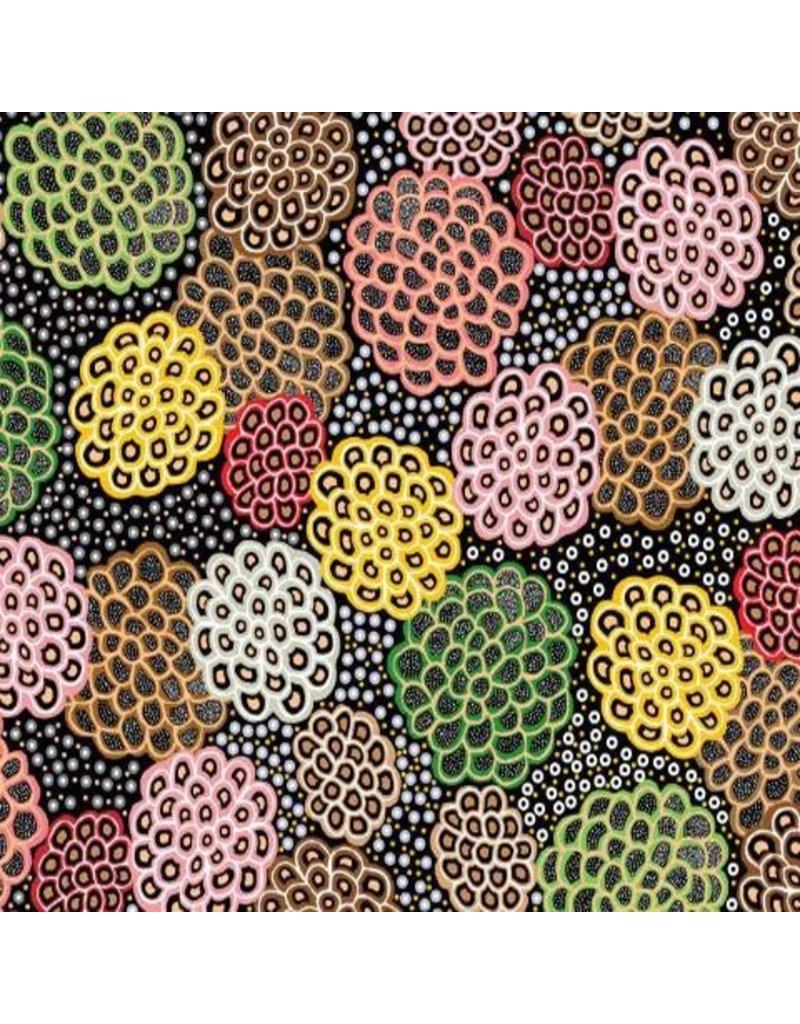 M&S Textiles Australia Australian Aboriginal, Dancing Flowers in Black, Fabric Half-Yards