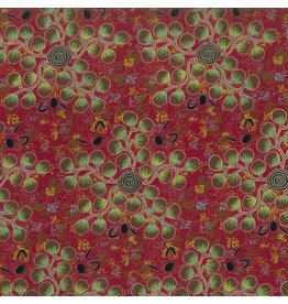 M&S Textiles Australia Australian Aboriginal, Gathering Bush Tomatoes in Red, Fabric Half-Yards
