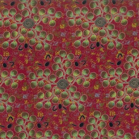 M&S Textiles Australia Australian Aboriginal, Gathering Bush Tomatoes in Red, Fabric Half-Yards