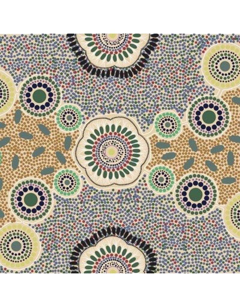 M&S Textiles Australia Australian Aboriginal, Meeting Places in Ecru, Fabric Half-Yards