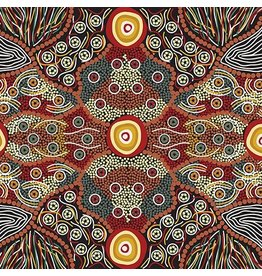 M&S Textiles Australia Australian Aboriginal, Wild Coconut in Black, Fabric Half-Yards