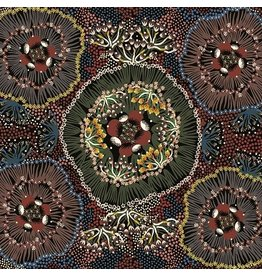 M&S Textiles Australia Australian Aboriginal, Bush Plum in Black, Fabric Half-Yards