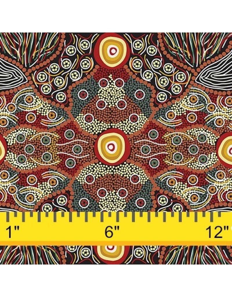 M&S Textiles Australia Australian Aboriginal, Wild Coconut in Black, Fabric Half-Yards
