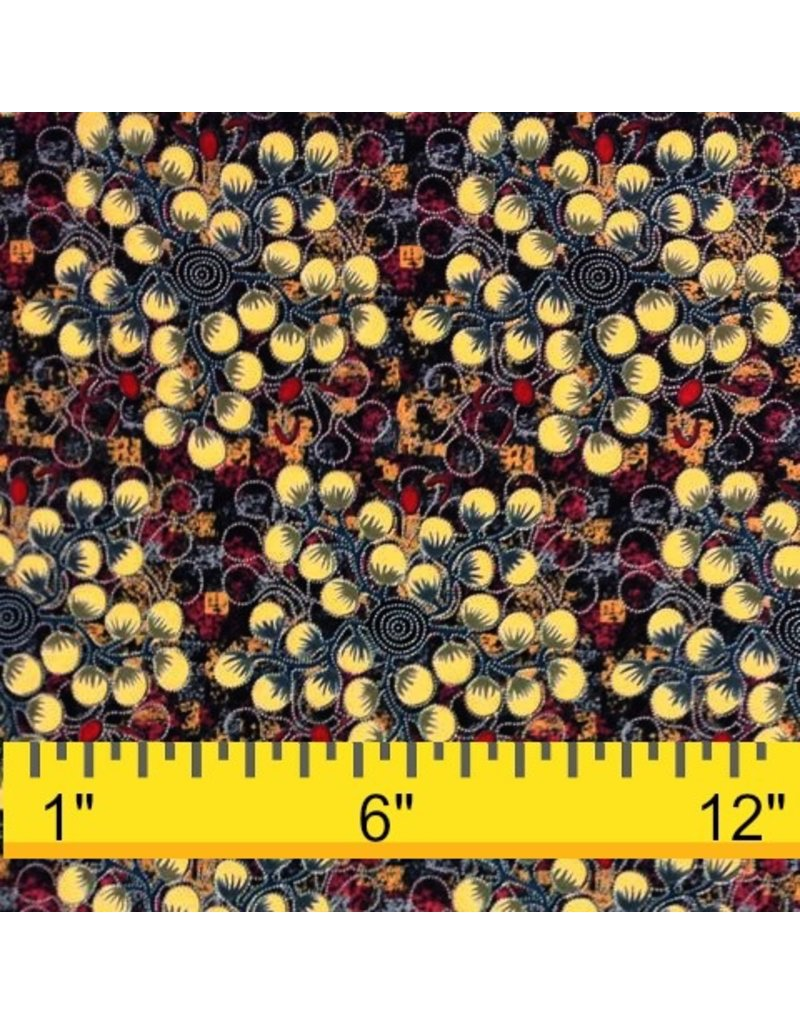 M&S Textiles Australia Australian Aboriginal, Gathering Bush Tomatoes in Black, Fabric Half-Yards