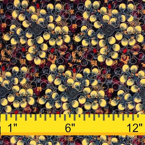 M&S Textiles Australia Australian Aboriginal, Gathering Bush Tomatoes in Black, Fabric Half-Yards