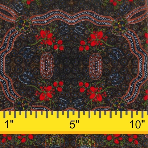 M&S Textiles Australia Australian Aboriginal, Bush Food in Red, Fabric Half-Yards