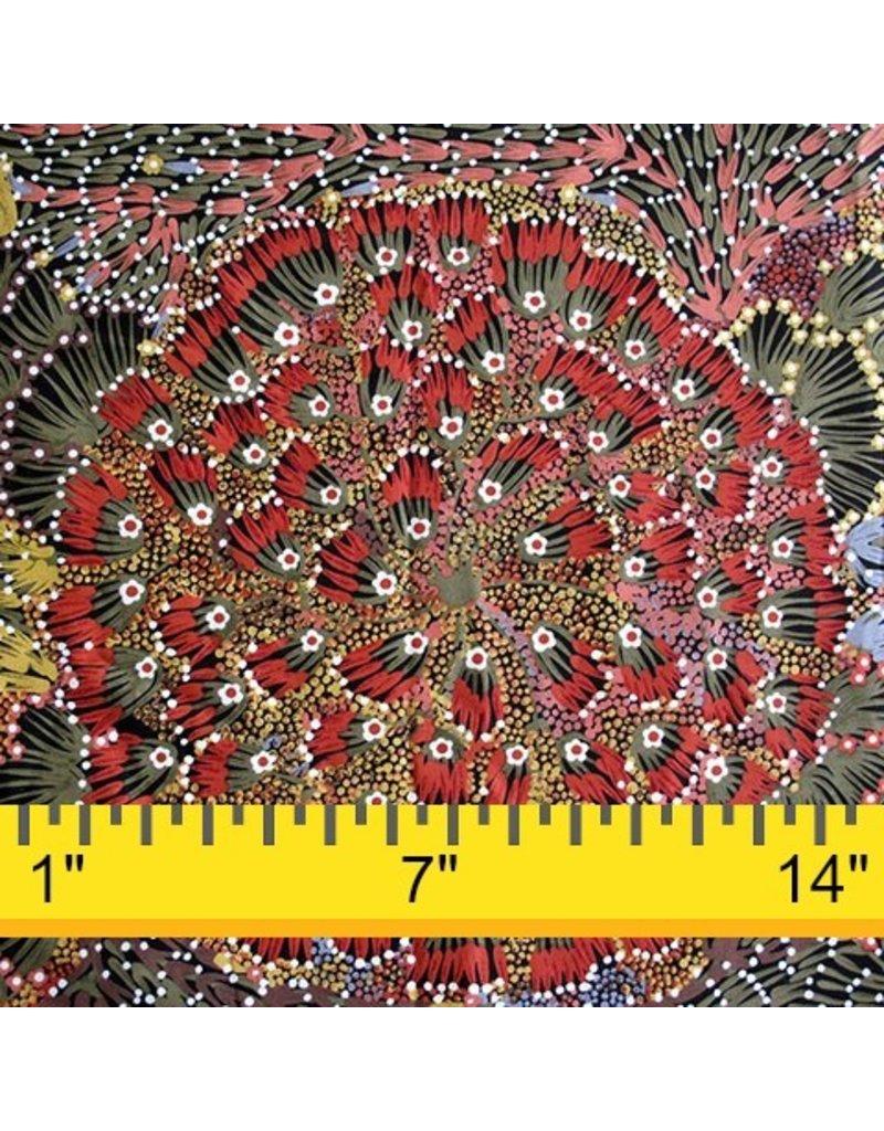 M&S Textiles Australia Australian Aboriginal, Bush Banana, Fabric Half-Yards