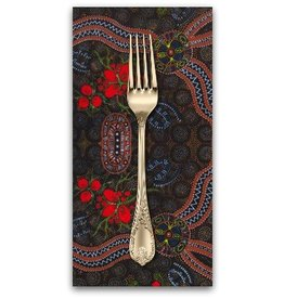 PD's Australian Aboriginal Collection Australian Aboriginal, Bush Food in Red, Dinner Napkin