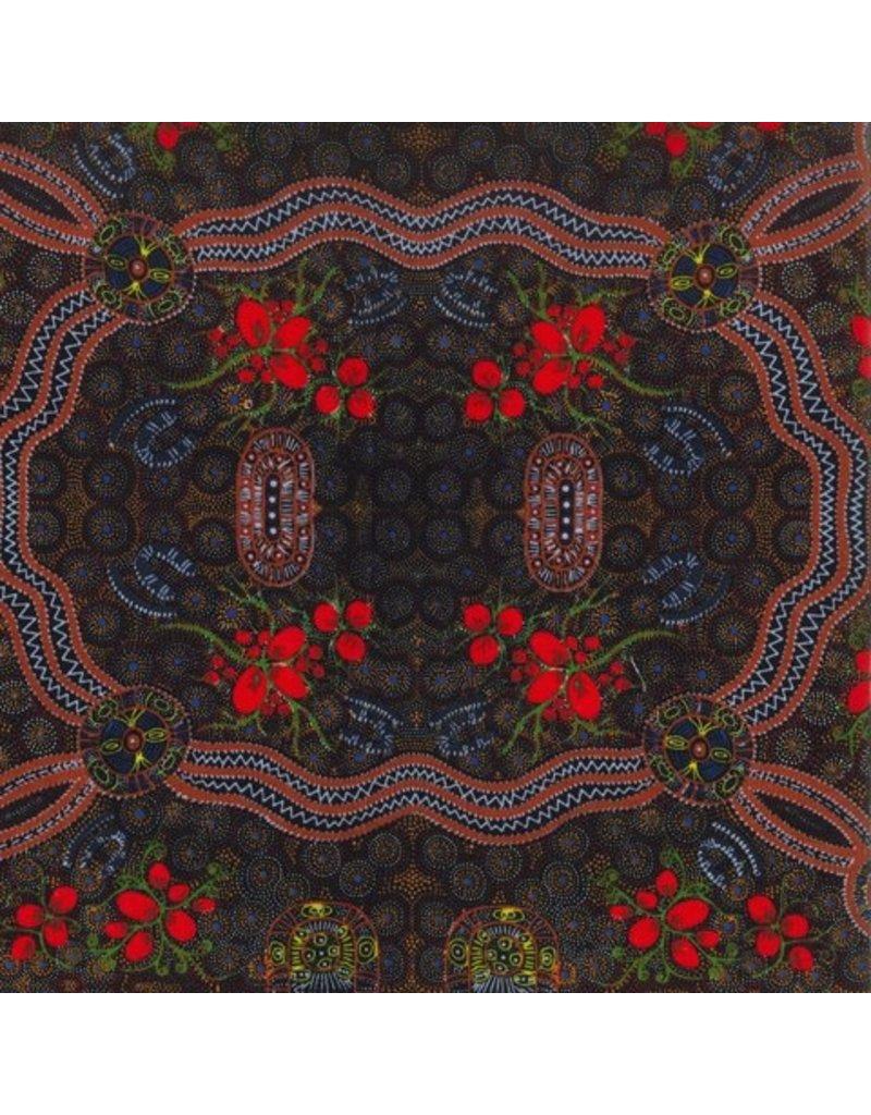 PD's Australian Aboriginal Collection Australian Aboriginal, Bush Food in Red, Dinner Napkin