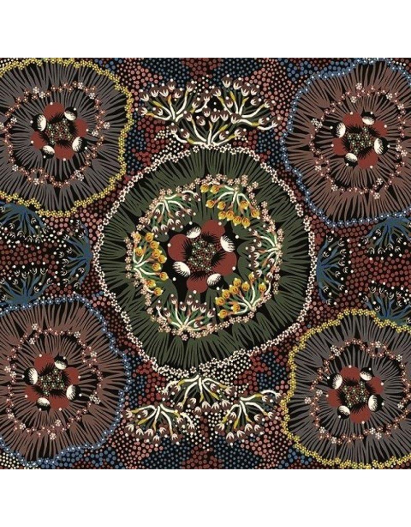 PD's Australian Aboriginal Collection Australian Aboriginal, Bush Plum in Black, Dinner Napkin