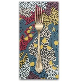 PD's Australian Aboriginal Collection Australian Aboriginal, Bush Sultana in Charcoal, Dinner Napkin