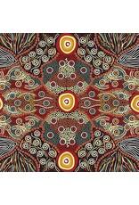 PD's Australian Aboriginal Collection Australian Aboriginal, Wild Coconut in Black, Dinner Napkin