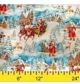 Michael Miller Christmas, Old World Santa in Multi, Fabric Half-Yards