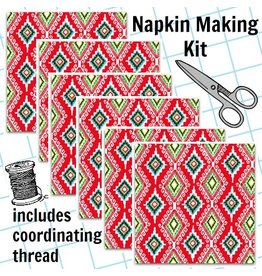 Picking Daisies Dinner Napkin Kit: Llama Navidad, Felicia in Christmas Red