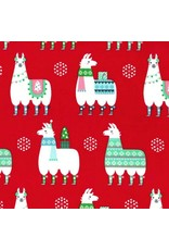 PD's Michael Miller Collection Llama Navidad in Red, Dinner Napkin