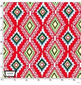 Michael Miller Llama Navidad, Felicia in Christmas Red, Fabric Half-Yards