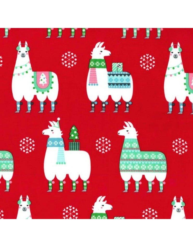 Michael Miller Llama Navidad in Red, Fabric Half-Yards