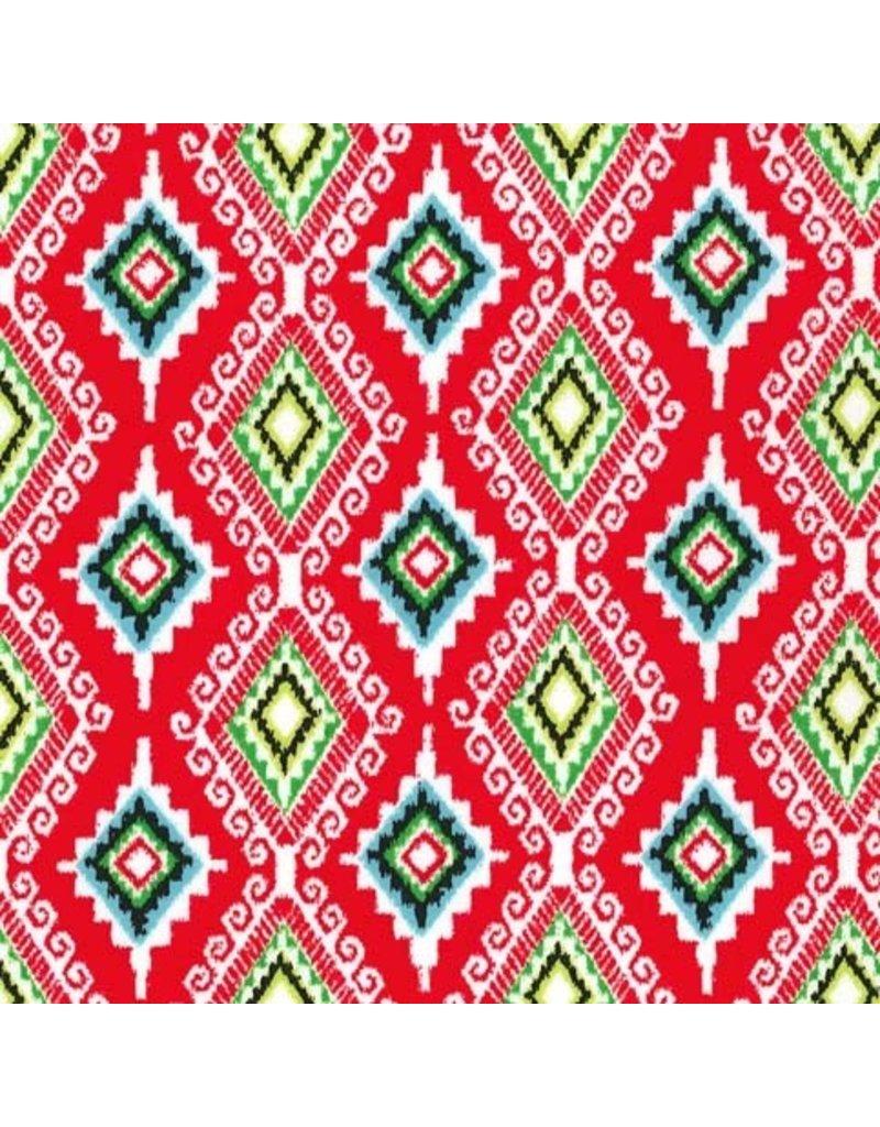 Michael Miller Llama Navidad, Felicia in Red, Fabric Half-Yards